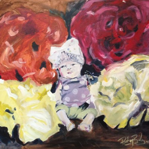 Acrylic painting of baby surrounded by big colorful puffs.