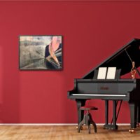 Painting next to piano
