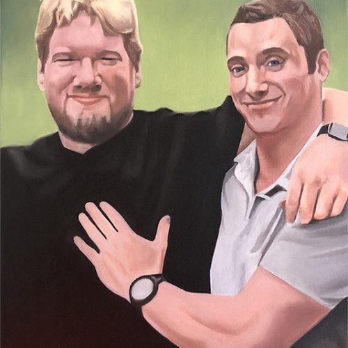 Oil paint portrait of two men with bright green gradient background.