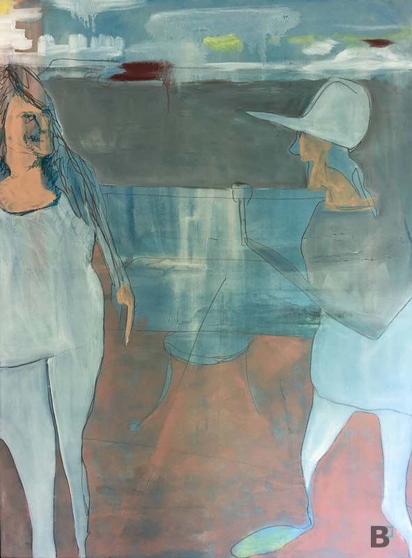 Abstract acrylic painting of two people standing. The person on the right has a hat and the person on the left has a white shirt and pants on with long hair. The abstract background shows table legs and horizontal shapes suggesting structures.