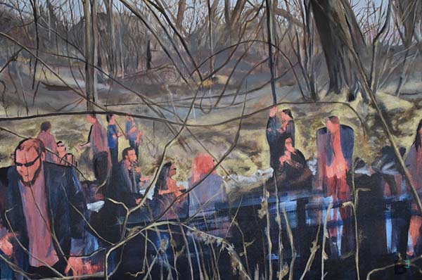 Colorful oil painting of people gathering in nature. The background is a fall scene with trees that have no leaves and the ground is covered in gold paint. In the foreground you see the people gathering.