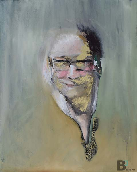 Abstract oil painting portrait. Light green color background with the portrait being centered on the canvas. Colors in the face are whites, pinks, gold and black.