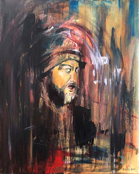Abstract, colorful acrylic painting with red, white, tan, blue and black paint of a mans face who has a beard. He is looking to the right, with his mouth open. There is movement in the painting with circular motion and vertical paint strokes in the background.
